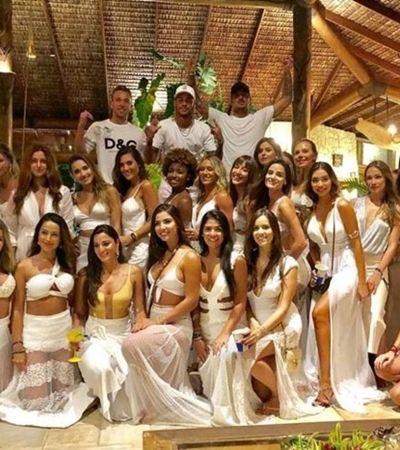 Neymar e Medina são acusados de machismo por postagem de foto ao lado de 26 mulheres