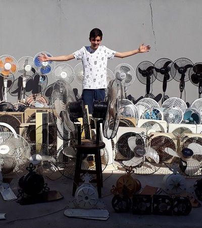 Colecionador com mais de 300 ventiladores é uma das pessoas mais felizes neste verão