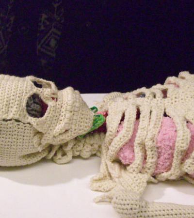 Artista passa 8 meses fazendo um esqueleto anatomicamente perfeito em crochê