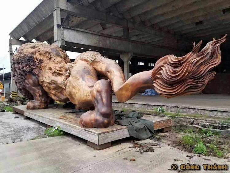 leão de madeira 5