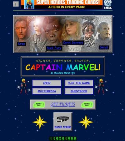 Site oficial da Capitã Marvel é um retorno ao design tosco da internet dos anos 1990