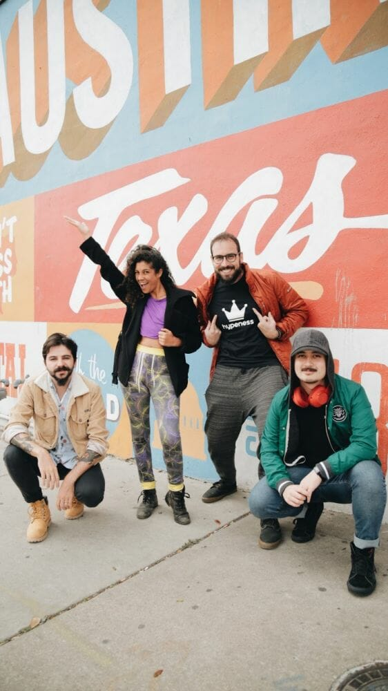 Time Hypeness no SXSW 2019 (Da esq para dir): Rafael Nardini, Gabriela Rassy, Rafael Rosa e Yuri Andreoli