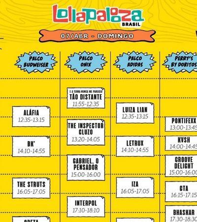 Confira os horários dos shows do Lollapalooza BR 2019 e programe-se para não perder nada