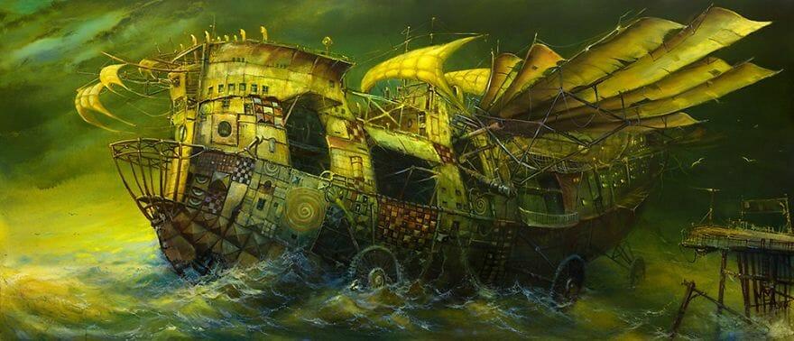 pintura navio imaginário 1