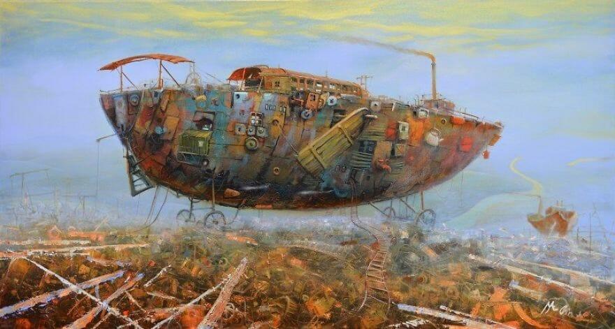 pintura navio imaginário 16