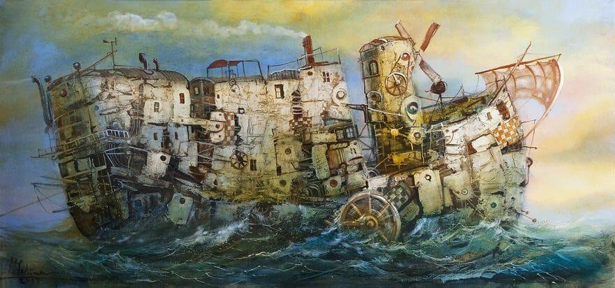 pintura navio imaginário 18