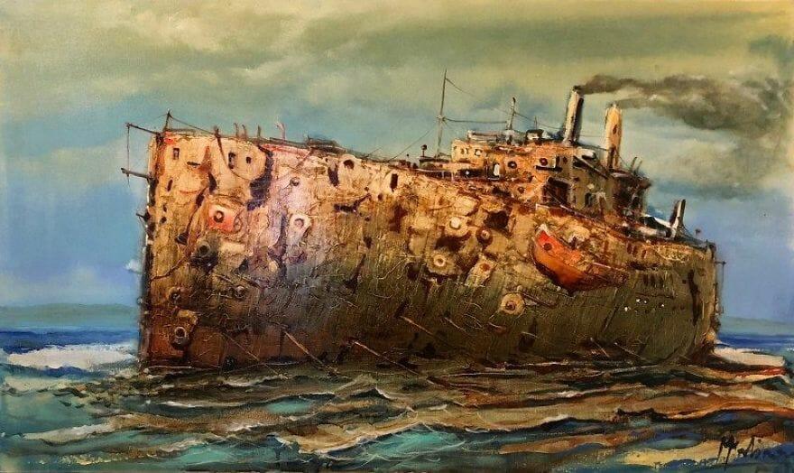 pintura navio imaginário 20