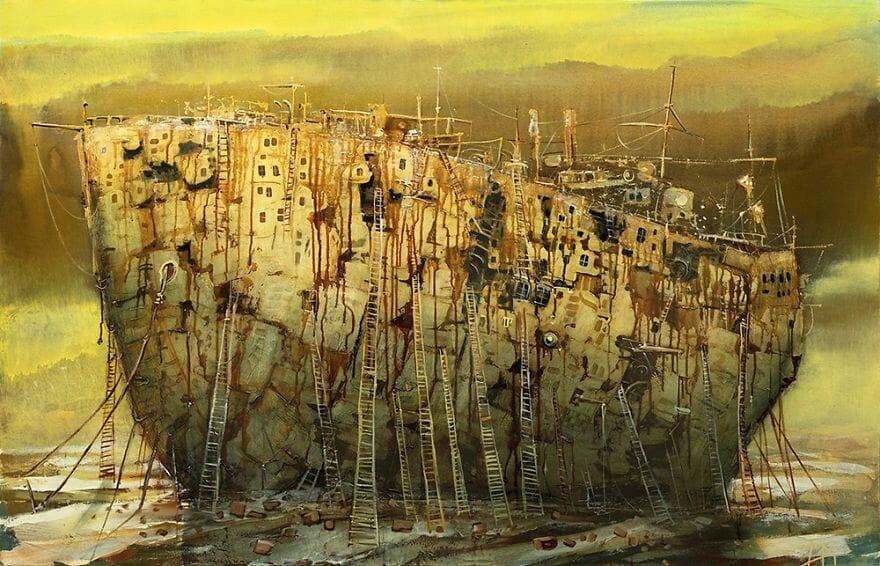 pintura navio imaginário 7