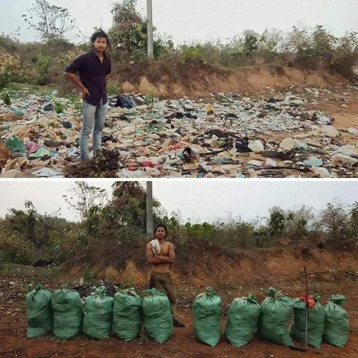 Antes e depois de limpeza de lixo no Nepal