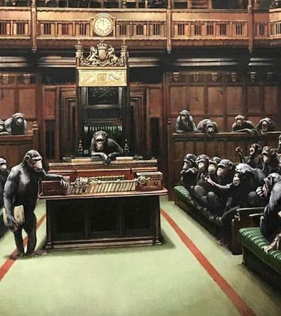 Obra de Banksy com releitura ácida do Parlamento inglês volta a bombar com fiasco do Brexit
