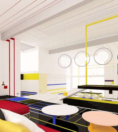 Apartamento moderno simula como seria viver dentro de um quadro de Mondrian
