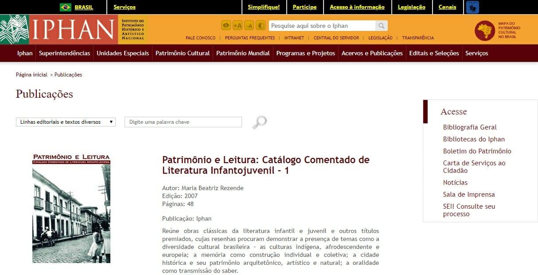 """Reprodução da página da Biblioteca do Iphan, com destaque para o livro """"Patrimônio e Leitura: Catálogo comentado de literatura infantojuvenil - 1"""""""