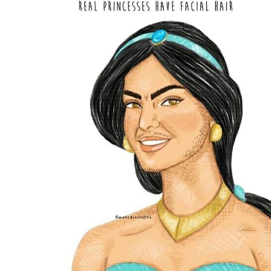 Ilustração mostra Jasmine com pelos no rosto