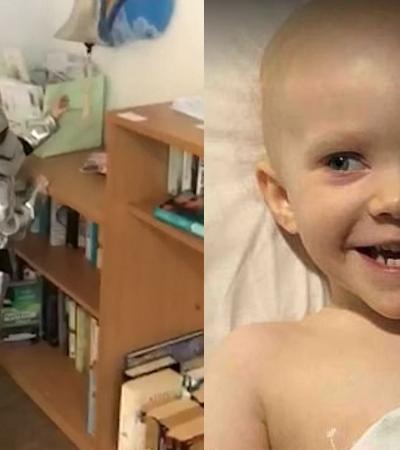 Fantasiada de personagem de 'Star Wars', garota de 4 anos comemora a cura do câncer