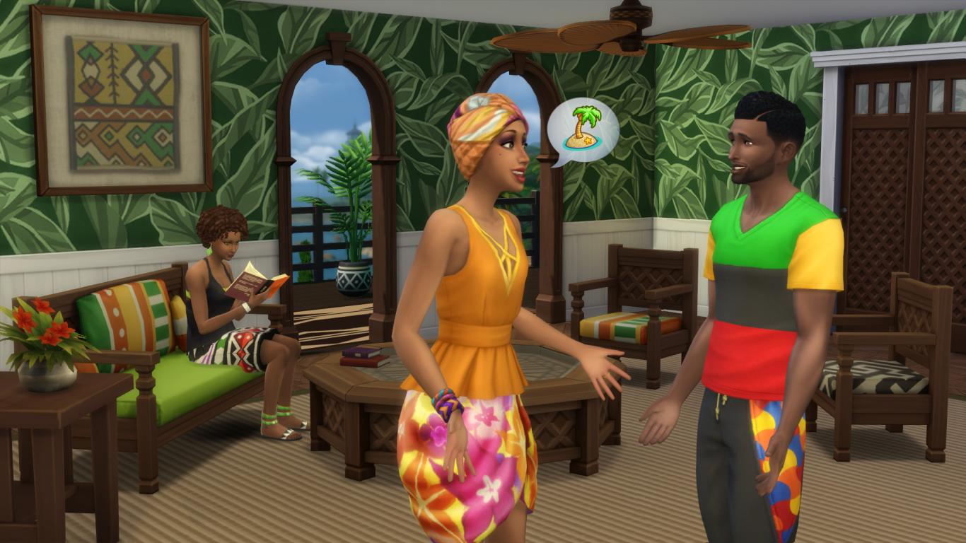 Reprodução do jogo The Sims mostra um diálogo entre dois personagens