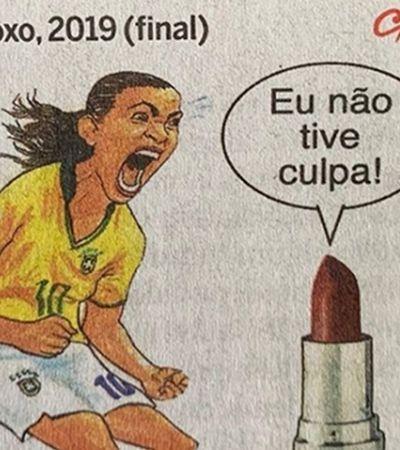 O Globo faz charge machista atribuindo a 'aquilo roxo' derrota da seleção feminina