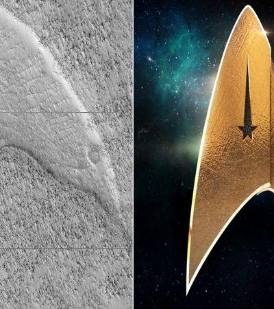 Formação muito parecida com símbolo da frota estelar de 'Star Trek' é encontrado em Marte