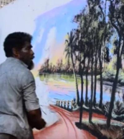 Homem em situação de rua pinta murais incríveis usando apenas folhas de plantas, lama e pigmentos naturais