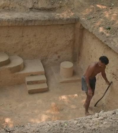 Homem utiliza técnicas ancestrais para construir casa subterrânea com piscina