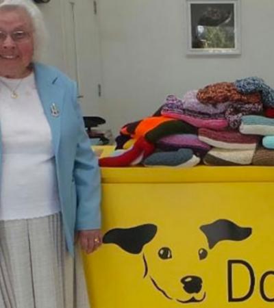 Esta senhora de 89 anos tricotou malha para 450 cães que vivem em abrigo