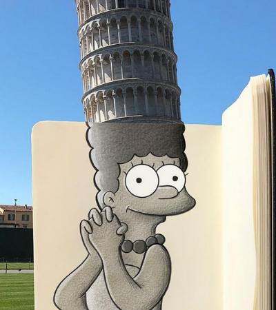 Artista mistura personagens de desenhos com monumentos reais
