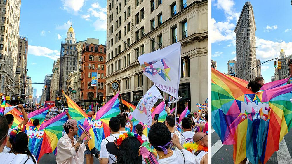 World Pride New York City passando em frente ao Flatiron Building - Foto: Rafael Leick / Viaja Bi!