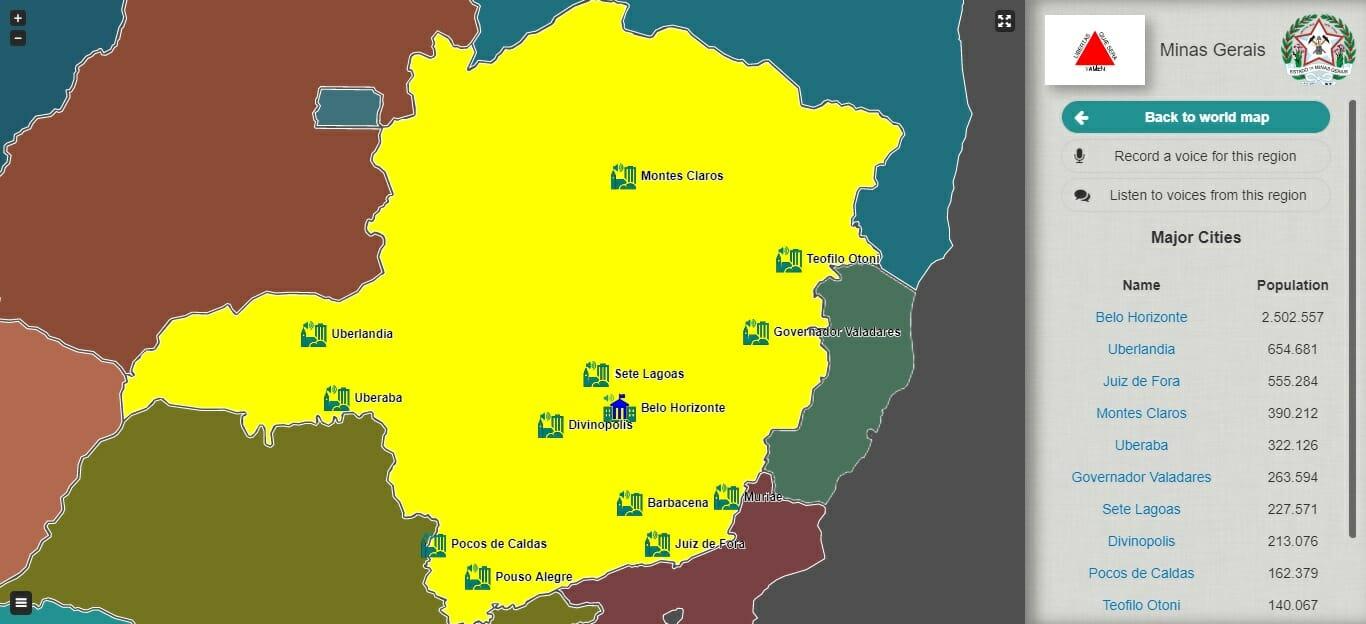 Mapa dos sotaques de Minas Gerais