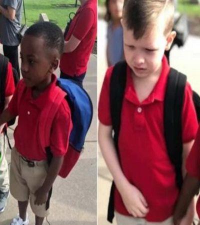 Menino ajuda amigo com autismo no primeiro dia de aula e foto viraliza