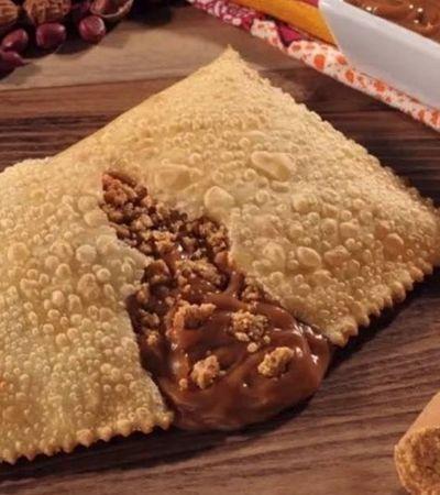 Criaram o pastel doce mais brasileiro de todos: Paçoquita com doce de leite