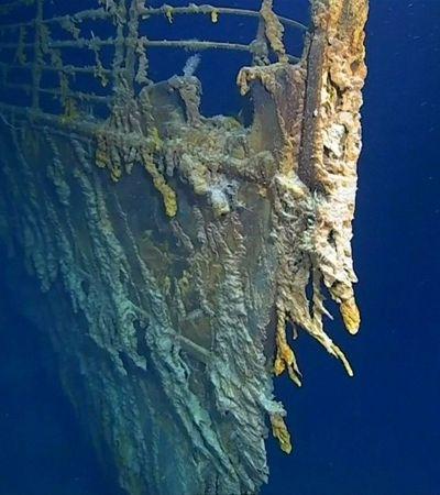 Inéditas, imagens mostram Titanic consumido por bactérias no oceano