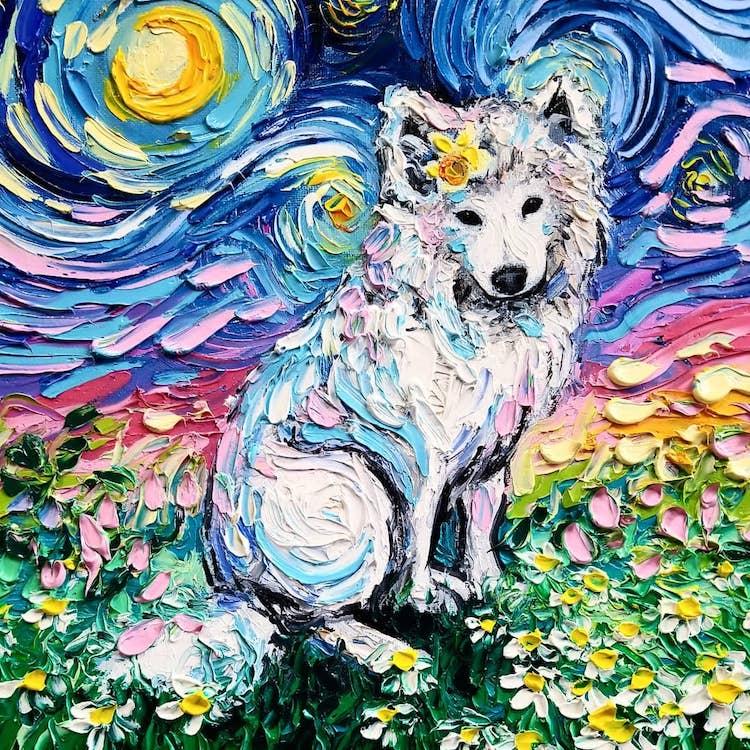 a noite estrelada cachorros 1