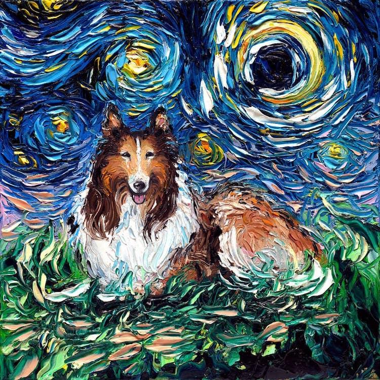a noite estrelada cachorros 10