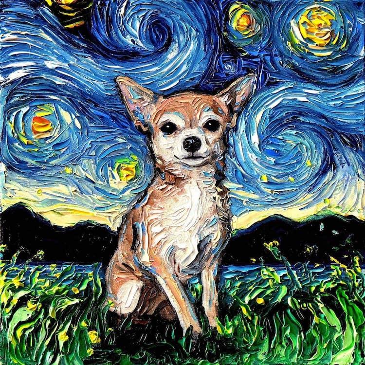 a noite estrelada cachorros 4
