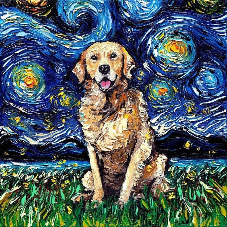 a noite estrelada cachorros 5