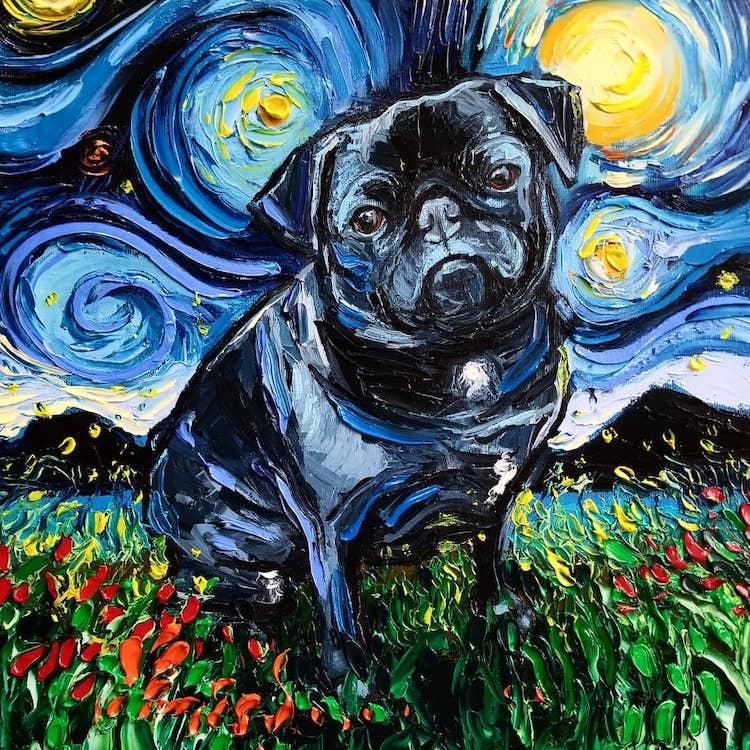 a noite estrelada cachorros 6