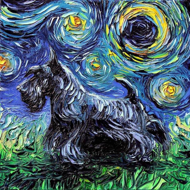 a noite estrelada cachorros 7