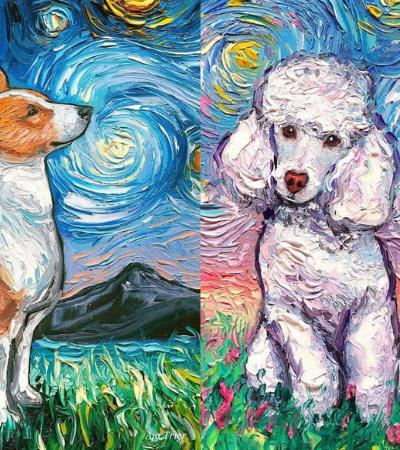 Artista homenageia Van Gogh e reproduz 'A Noite Estrelada' com cachorros