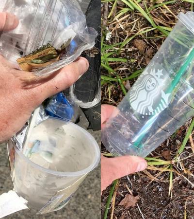 Perfil posta fotos de lixo alheio recolhido do chão propondo uma revisão de hábitos
