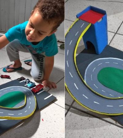 Sem dinheiro para comprar presente para o filho, mãe constrói pista de papelão