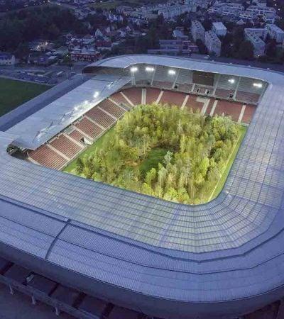 Estádio é ocupado por floresta de 300 árvores para chamar atenção para o meio ambiente
