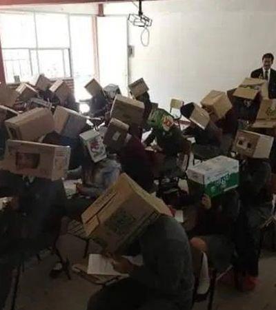 Professor coloca caixas de papelão na cabeça de alunos para evitar cola e revolta pais