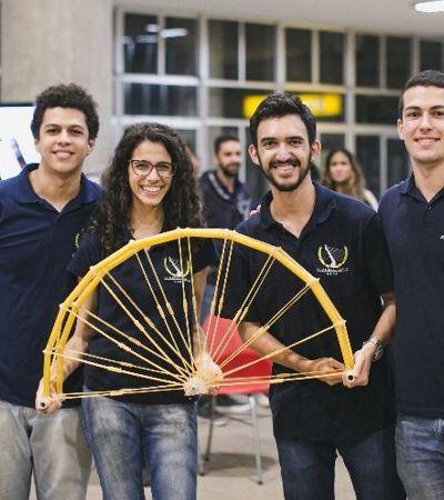 Estudantes brasileiros constroem ponte de macarrão capaz de aguentar 132 Kg