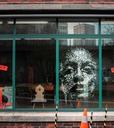Artista suíço transforma vidros rachados em incríveis retratos