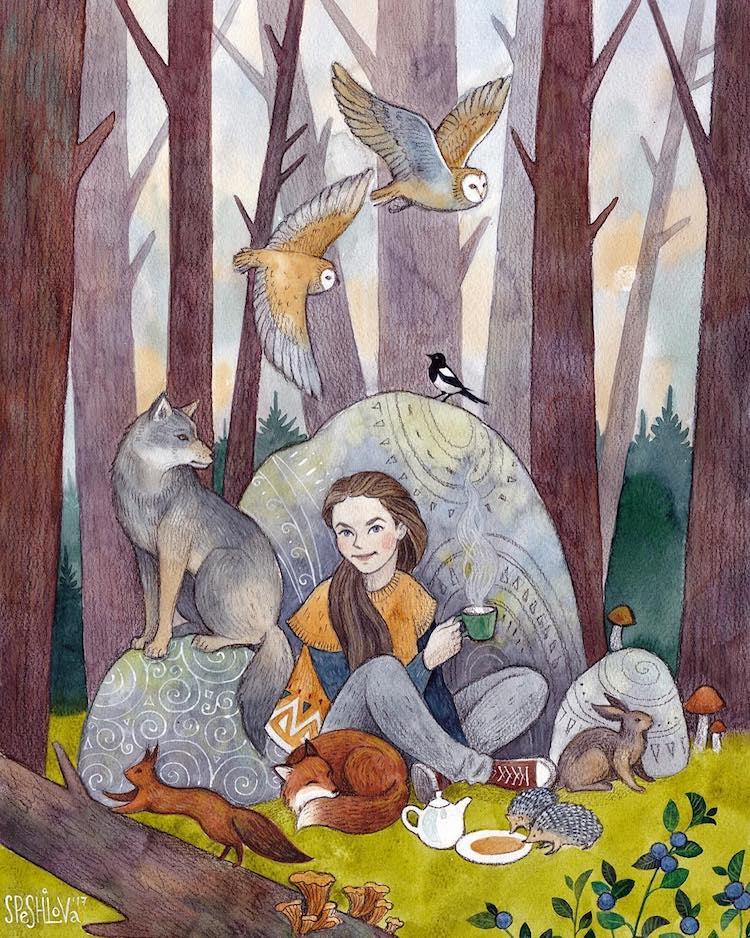 aquarela mulheres e animais 4