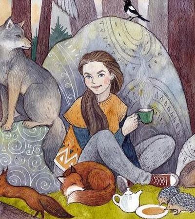 As delicadas Ilustrações de mulheres e animais coabitando na floresta