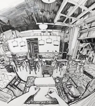 Este artista cria desenhos incríveis em perspectiva do lugar onde está