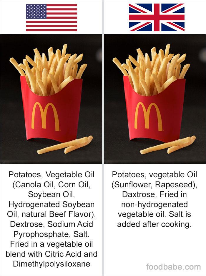 diferença ingredientes EUA e Reino Unido 1