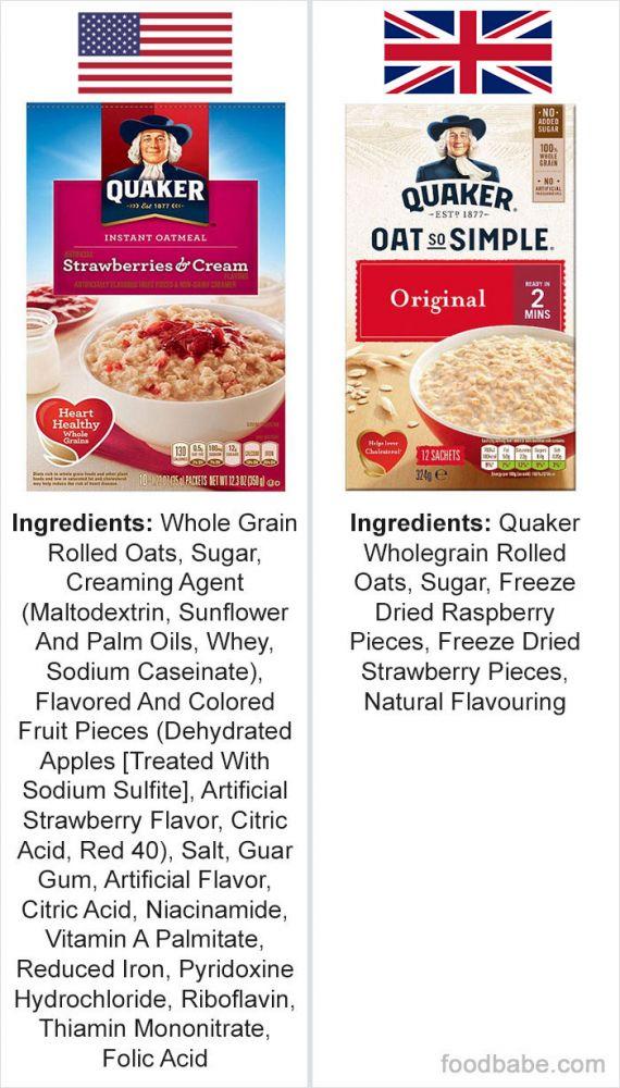 diferença ingredientes EUA e Reino Unido 2