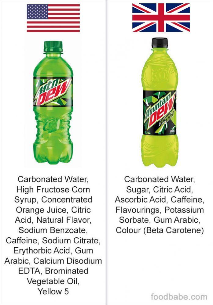diferença ingredientes EUA e Reino Unido 3