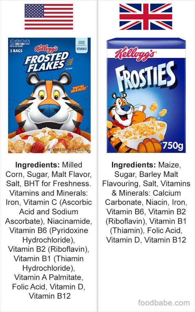 diferença ingredientes EUA e Reino Unido 6